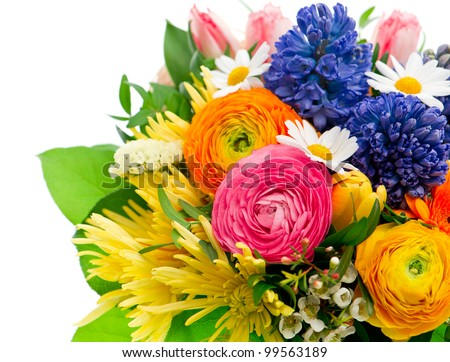 beautiful bouquet of colorful spring flowers. tulip, ranunculus, hyacinth, daisy, gerber