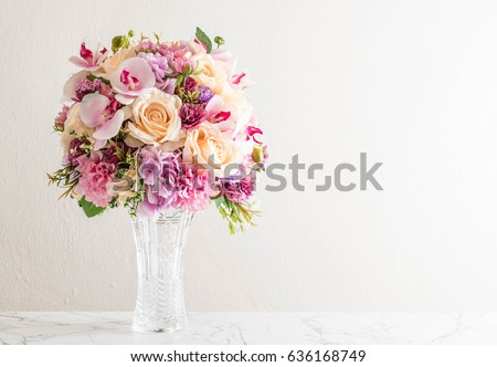 beautiful bouquet of flowers in vase #636168749