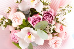 beautiful bouquet of flowers. pink colored
