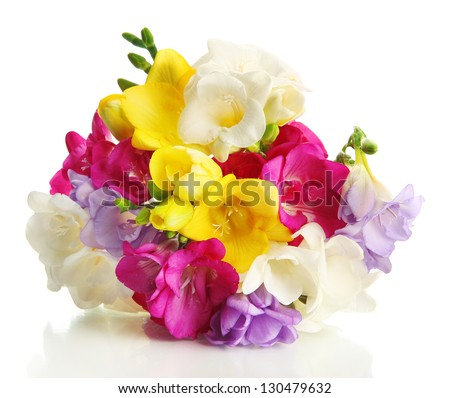Beautiful bouquet of freesias, isolated on white