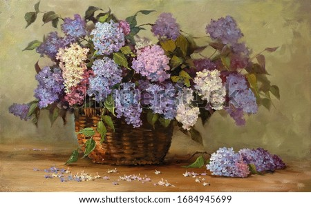 beautiful bouquet of lilacs in a wicker basket,fine art, oil painting, blooming lilac, beautiful, still life, spring, flowers