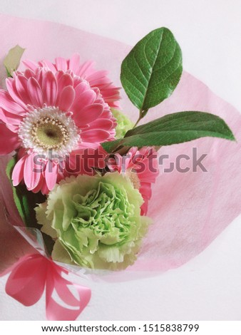 Beautiful bouquet of pink and green ストックフォト ©