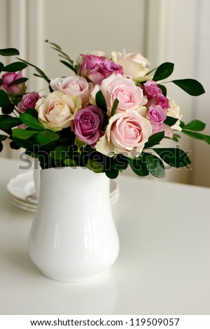 Beautiful bouquet of pink roses - stock photo