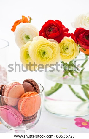 beautiful bouquet of ranunculus into a vase and macaroons