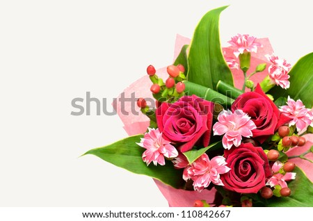 Beautiful bouquet of roses and carnations. (on white background)