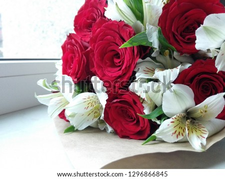 beautiful bouquet with roses #1296866845