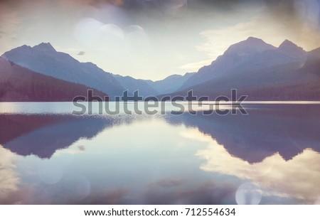 beautiful bowman lake with...