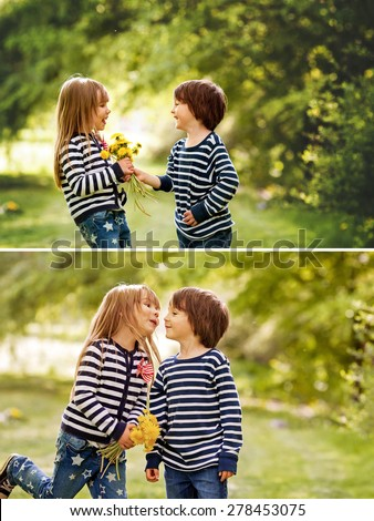 Beautiful boy and girl in a park, boy giving flowers to the girl. Friendship concept, outdoor, collage of two pictures