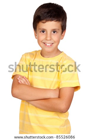 Beautiful boy isolated on a over white background