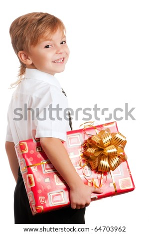 Beautiful boy with gift box isolated on white background