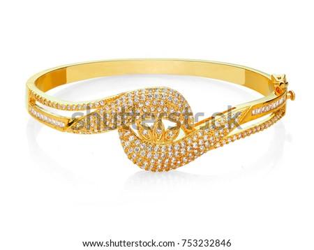 Beautiful bracelet with diamonds on white background