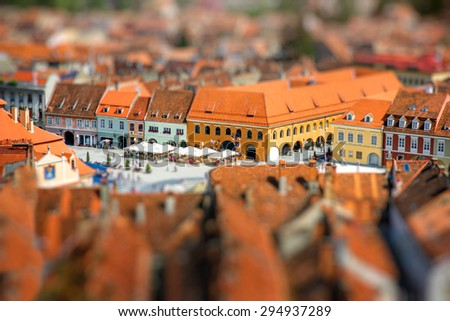 Beautiful Brasov cityscape top view in Romania - stock photo