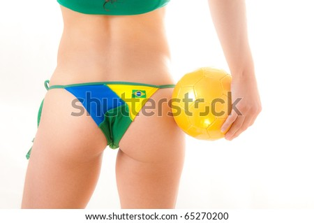 stock photo beautiful brazilian model wearing a green and yellow soccer thong bikini bottom holding a soccer 65270200 This Alicia Silverstone fake
