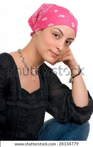Beautiful breast cancer survivor with bandanna ( 2 months after chemo)