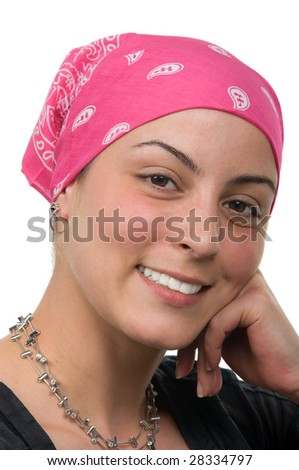 stock photo : Beautiful breast cancer survivor with bandanna ( 2 months ...