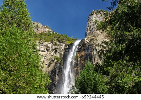 Beautiful Bridalveil Falls cut into the Granite of Yosemite National Park