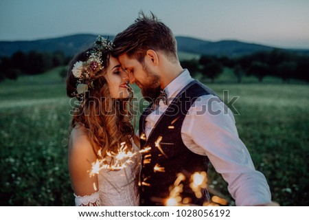Beautiful bride and groom with sparklers on a meadow. #1028056192