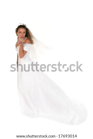 Beautiful Bride Blowing a Kiss From Her Hand Full Length Shot