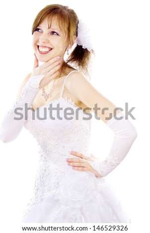 beautiful bride dreams isolated on white background