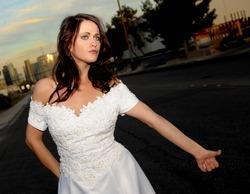 Beautiful Bride hitch hiking in las Vegas