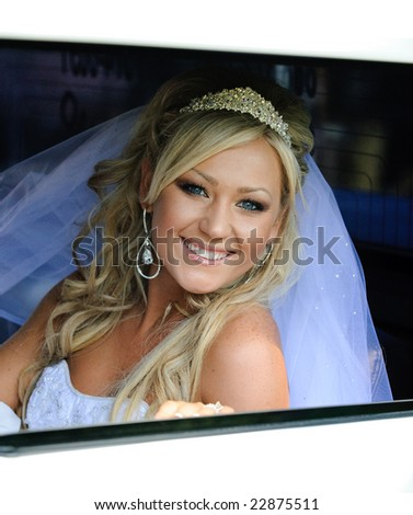 Beautiful bride in the limo