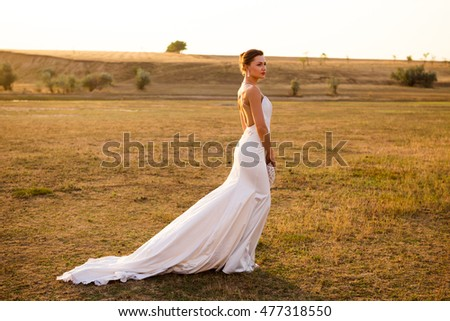 Beautiful bride in white dress with a train #477318550