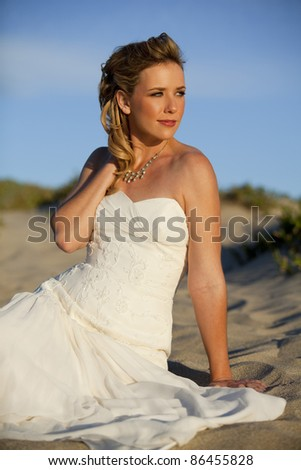 Beautiful bride outside on her wedding