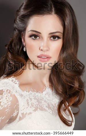 Beautiful Bride Portait Wedding Makeup Woman With Curly Hairstyle