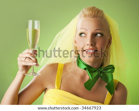 Beautiful bride with a glass of champagne