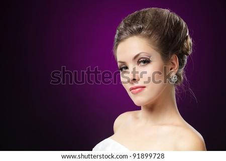 Beautiful bride with creative makeup