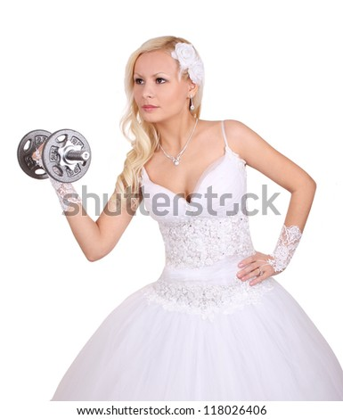 beautiful bride with dumbbell isolated on white, concept