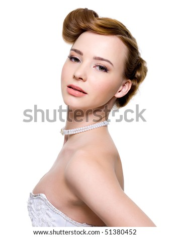 wedding hairstyle - isolated on
