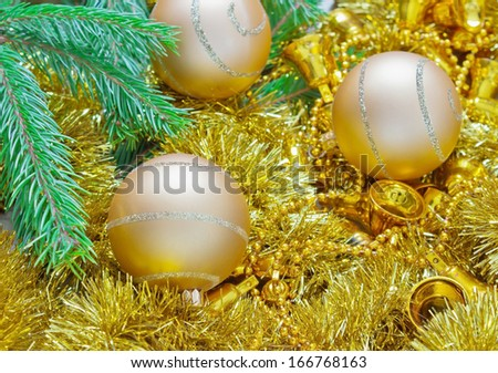 beautiful bright christmas balls, garlands and spruce branches