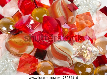Beautiful bright colorful stones and crystals on a white background - stock photo