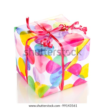 Beautiful bright gift isolated on white - stock photo