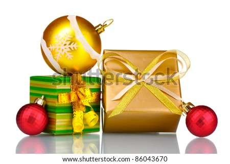 Beautiful bright gifts and Christmas decoration isolated on white