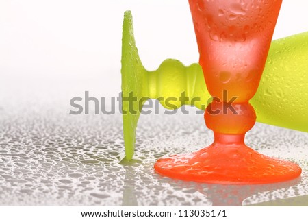 beautiful bright glass cups with water drop