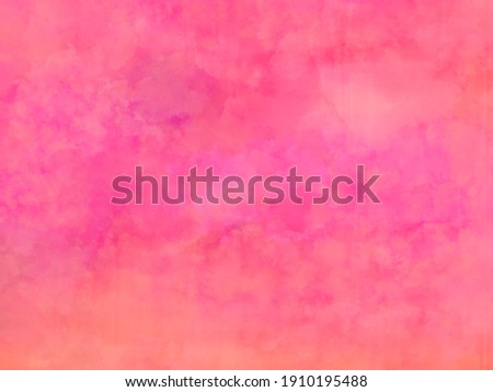 Beautiful bright hot pink watercolor and soft peach orange and beige colors on cloudy splashed design, elegant watercolor paint illustration Stock photo ©