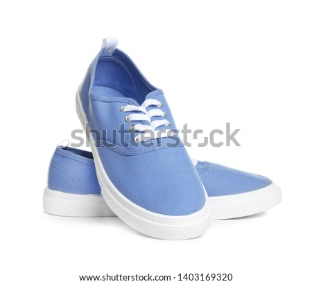 Beautiful bright stylish shoes on white background