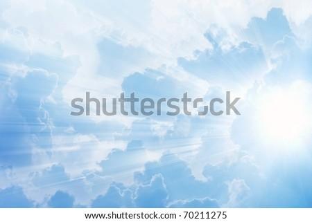 Beautiful bright sun in cloudy sky