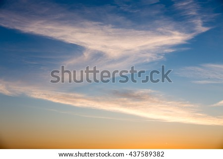 Beautiful bright sunset sky as a sky Background. #437589382