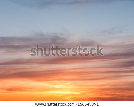 Beautiful bright sunset with evening glow