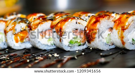 beautiful, bright, sushi sets,as a background, against the backdrop, closeup