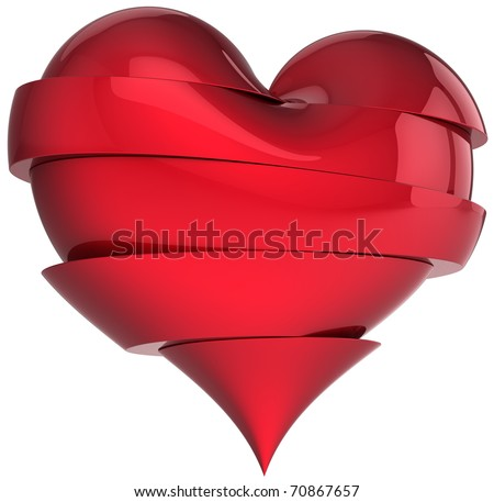 Beautiful broken heart. Slices of sweetheart. Fall out of love abstract. Valentine's Day greeting card design element. This is a detailed render 3d (Hi-Res). Isolated on white background