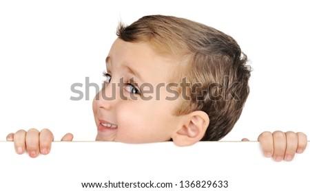 beautiful brown hair blue eyes boy smile on white