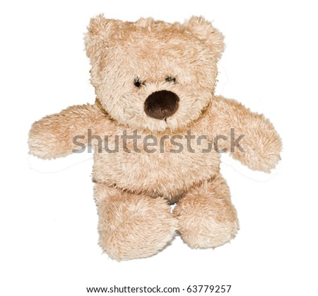 Beautiful, brown teddybear isolated on white background