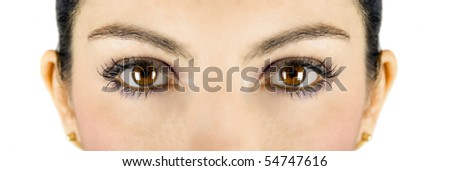 Beautiful brown woman eyes looking at you