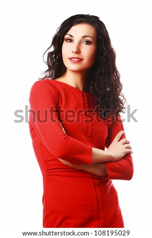 Beautiful brunet woman with curly hair folding hands isolated