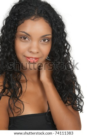 Beautiful brunette african woman on white background. Not isolated