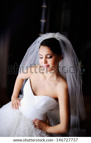 beautiful brunette  bride at home in the morning